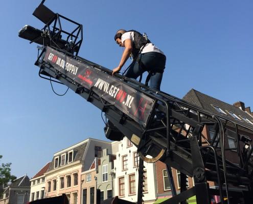 ladder van onze dj auto hoogwerker